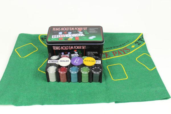 Poker Set 200pcs Casino Style Texas Hold'em with Layout - 2x Card Decks