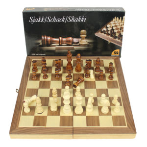 SMALL WOODEN CHESS SET WITH PAWNS 34cm x 34cm