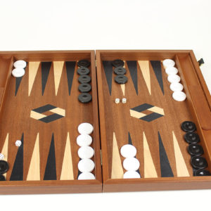 MAHOGANY BACKGAMMON WITH LUXURY CASE