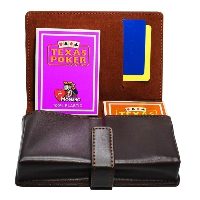 Modiano Texas Poker Jumbo 2 Orange & Purple Deck in artificial Leather Case | Σετ Modiano Texas Poker Jumbo Σε Θήκη Από Δερματίνη