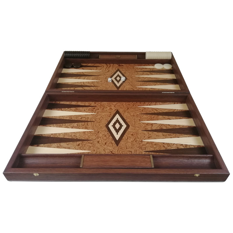 Backgammon Luxury Walnut Root with place