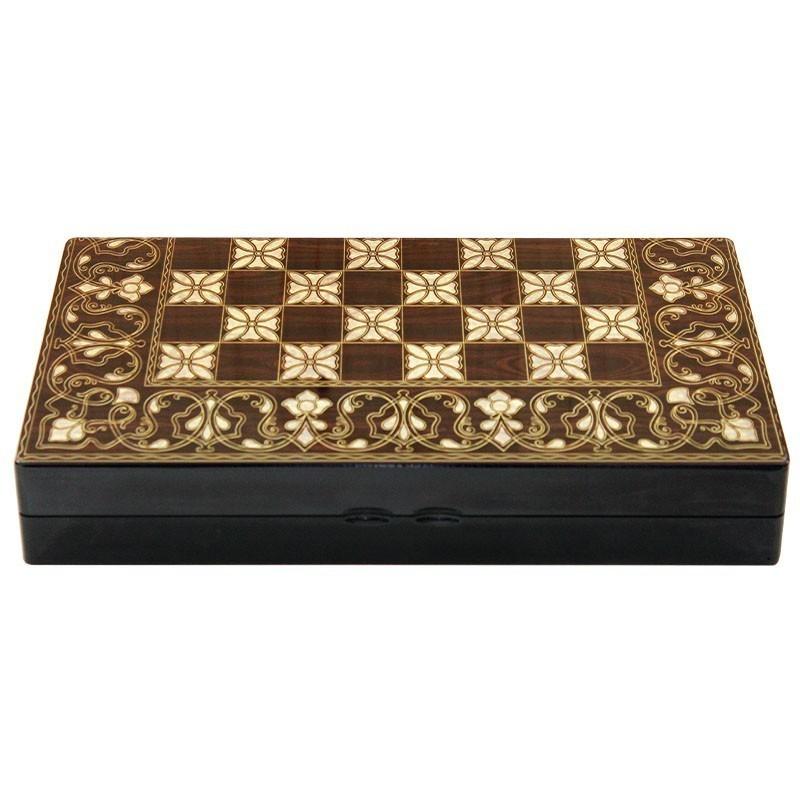 Luxury Backgammon-Chess board FLOWER | Τάβλι Σκάκι Flower Πολυτελείας