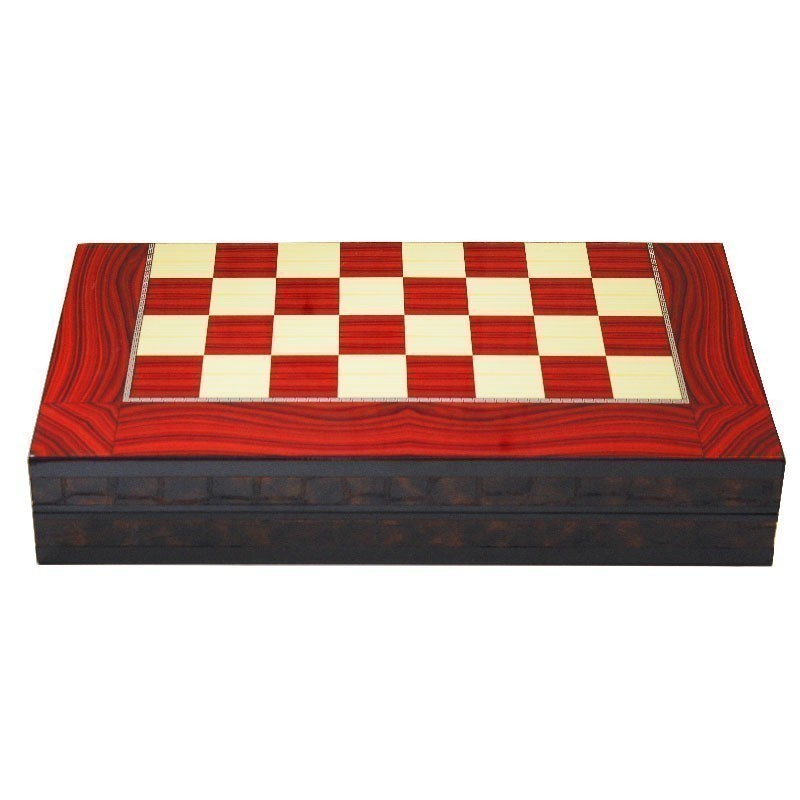 Backgammon-Chess GLOSS ROSE RED | Τάβλι Σκάκι Gloss Rose Red