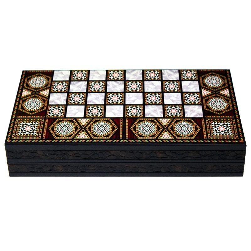 Backgammon-Chess Luxurious MOSAIC GLOSS | Τάβλι Σκάκι Mosaic Gloss Πολυτελείας