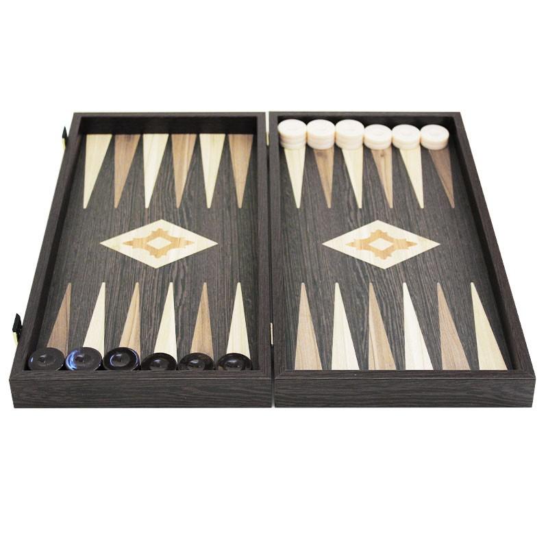 Backgammon Board Satin Glaze - Handmade Wenge veneer - Big size | Τάβλι Wenge Καπλαμάς Παραδοσιακό Μεγάλο