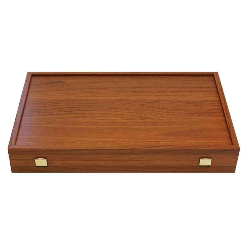 Gold Backgammon Board with Disk Storage - Handmade Walnut veneer - Big size | Τάβλι Καρυδιά Gold Με Θήκη Μεγάλο