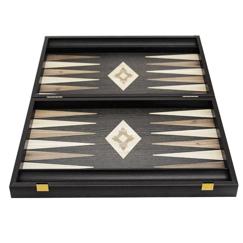 Gold Backgammon Board with Disk storage - Handmade Wenge veneer - Big size | Τάβλι Vertiko Gold Μεγάλο Με Θήκη