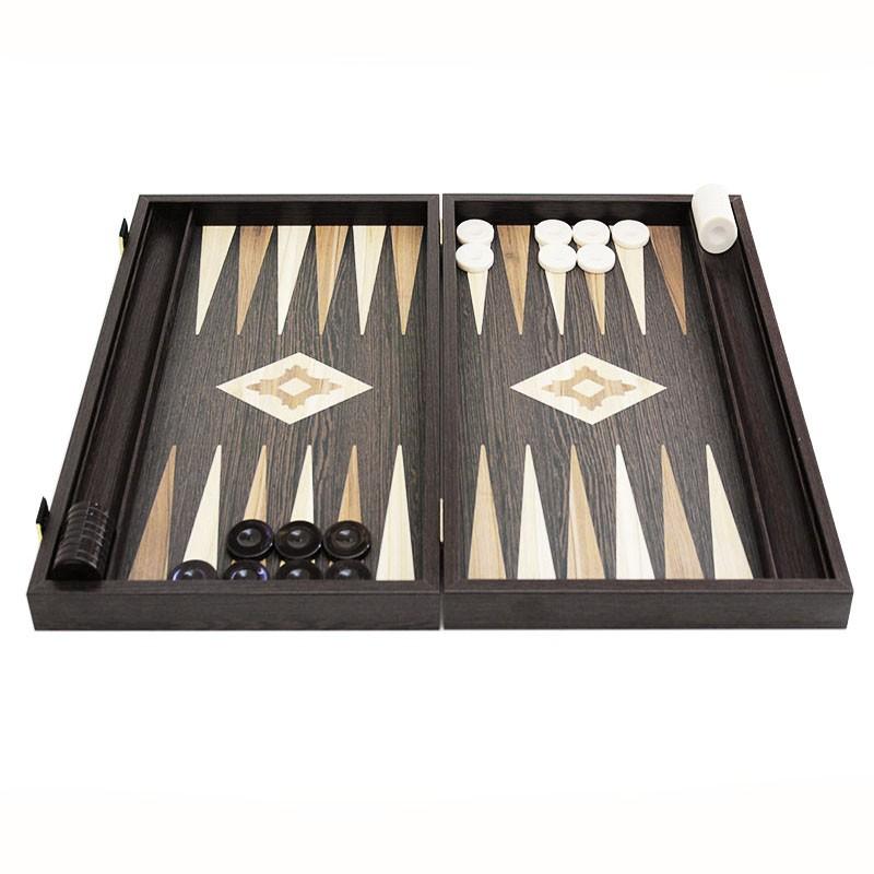 Gold Backgammon Board with Disk storage - Handmade Wenge veneer - Big size   Τάβλι Vertiko Gold Μεγάλο Με Θήκη
