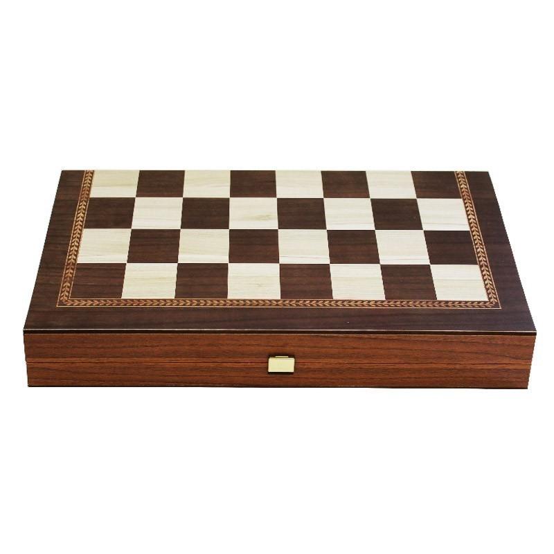 Backgammon-Chess Board  - Handmade Walnut veneer - Big size | Τάβλι - Σκάκι Καρυδιά Καπλαμάς Χειροποίητο Μεγάλο
