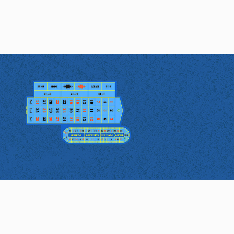Roulette Table Cloth - Cloud RH Blue with Racetrack | Τσόχα Ρουλέτας Σύννεφο Μπλε