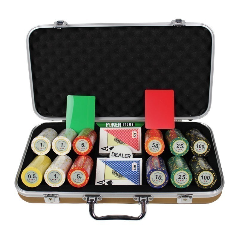 Poker Set 300pcs PokerItems 14gr Set in Luxury Abs Gold Case