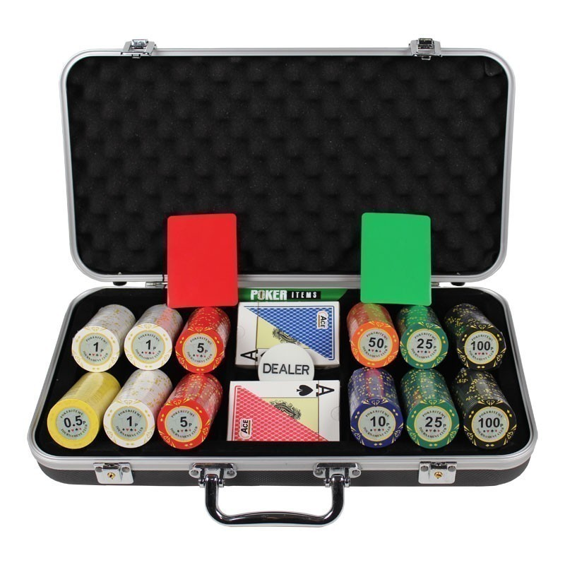 Poker Set 300pcs Monte Carlo Palace 14gr Clay -  Complete Game Set in Aluminium Carry Case