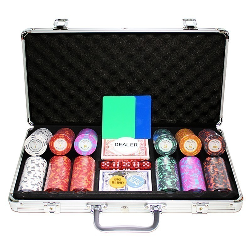 Poker Set 300pcs Monte Carlo Palace 14gr Clay -  Complete Game Set in Aluminium Carry Case | Σετ Μάρκες Πόκερ Palace 400τεμ 14gr Σε Βαλίτσα