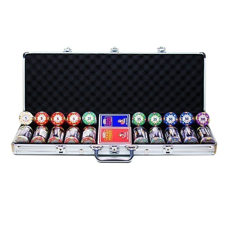 Poker Set 500pcs Grimaud Poker Master 14gr Clay - Complete Game Set in Luxury Carry Case | Σετ Μάρκες Poker Grimaud 14gr 500τεμ Σε Βαλίτσα Αλουμινίου