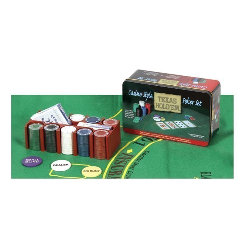 Poker Set 200pcs Casino Style Texas Hold'em with Layout - 2x Card Decks | Σετ Μάρκες Πόκερ  200τεμ