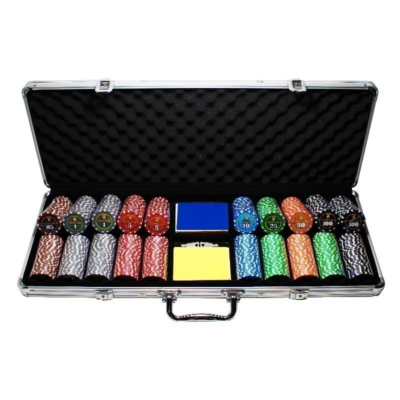 Poker Set 500pcs Poker Club 11,5gr Clay - 2x Card Decks in Aluminium Carry Case | Σετ Μάρκες Πόκερ Poker Club 500τεμ 11,5gr Σε Βαλίτσα