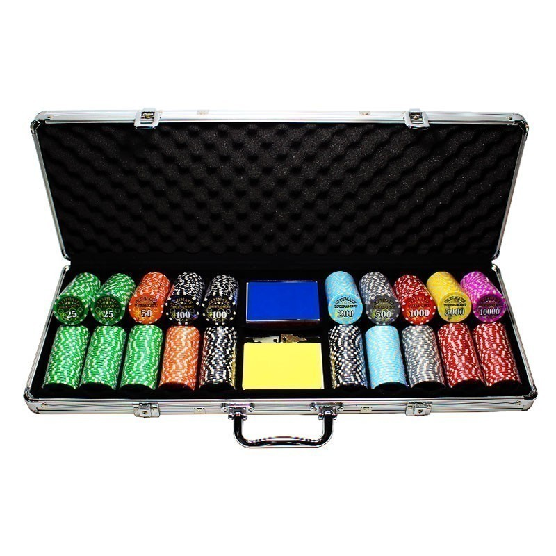 Poker Set 500pcs Ultimate Design 11,5gr Clay - 2x Card Decks in Aluminium Carry Case | Σετ Μάρκες Πόκερ 500τεμ 12,5gr Σε Βαλίτσα