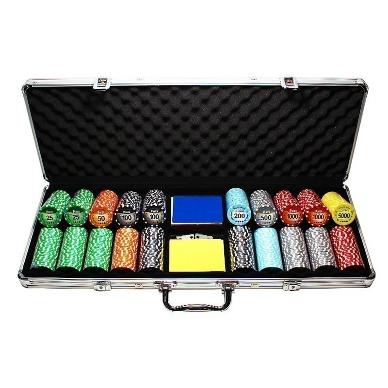 Poker Set 500pcs Tournament Pro 11,5gr Clay - 2x Card Decks in Aluminium Carry Case | Σετ Μάρκες Πόκερ Tournament Pro 500τεμ 11,5gr Σε Βαλίτσα