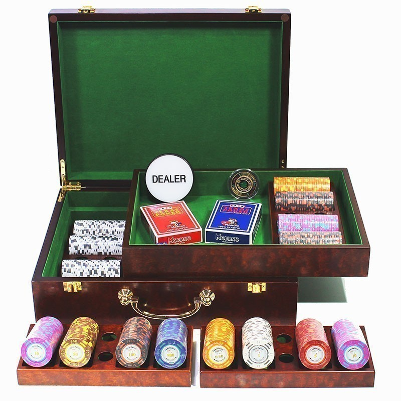 Poker Set 500pcs Monte Carlo Palace 14gr Clay - Complete Game Set in Luxury High Gloss Wooden Case | Σετ Μάρκες Πόκερ Palace 500τεμ 14gr Σε Ξύλινο Κουτί