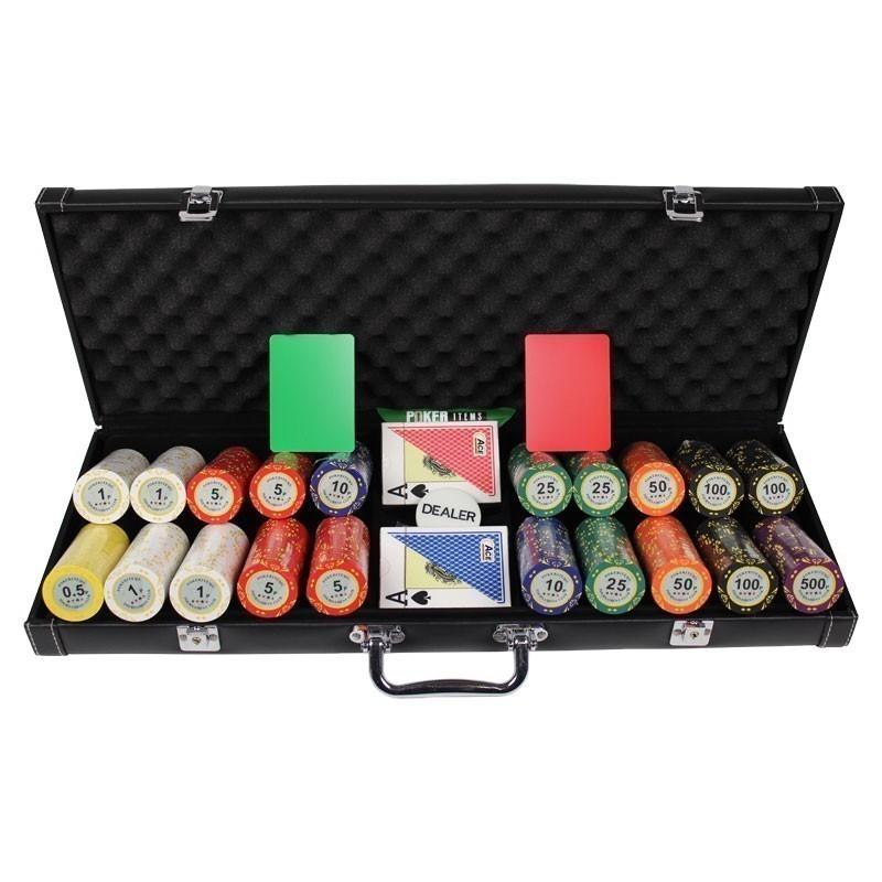 Poker Set 500pcs PokerItems 14gr Set in Luxury Abs Leather Case