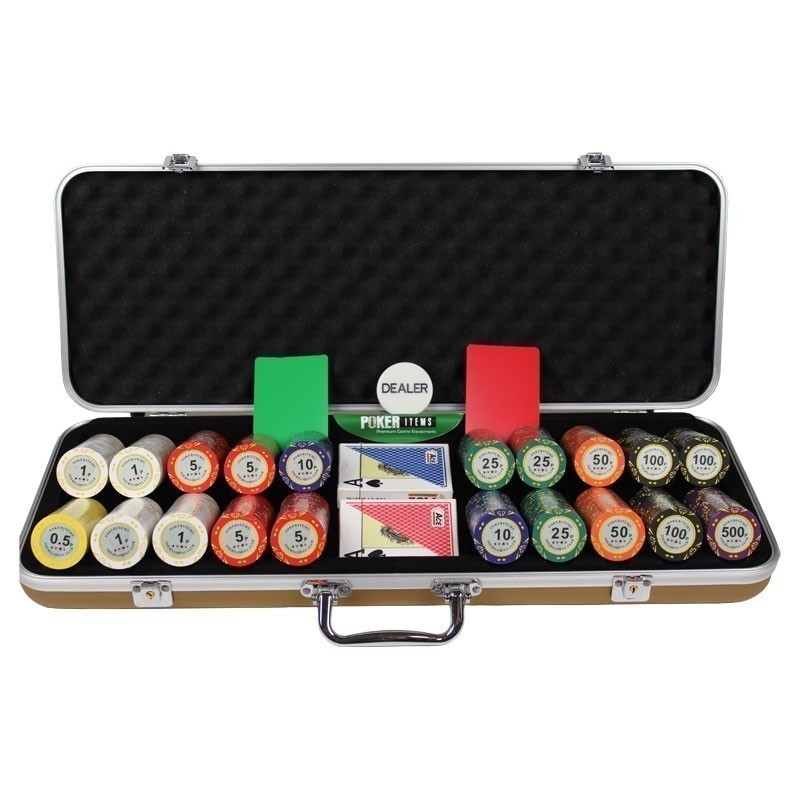 Poker Set 500pcs PokerItems 14gr Set in luxury Abs Gold Case