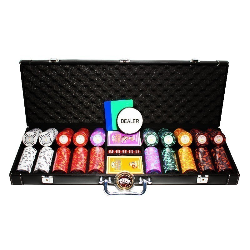 Poker Set 500pcs Monte Carlo Palace 14gr Clay - Complete Game Set in Luxury Carry Case | Σετ Μάρκες Πόκερ Palace 500τεμ 14gr Σε Βαλίτσα Πολυτελείας