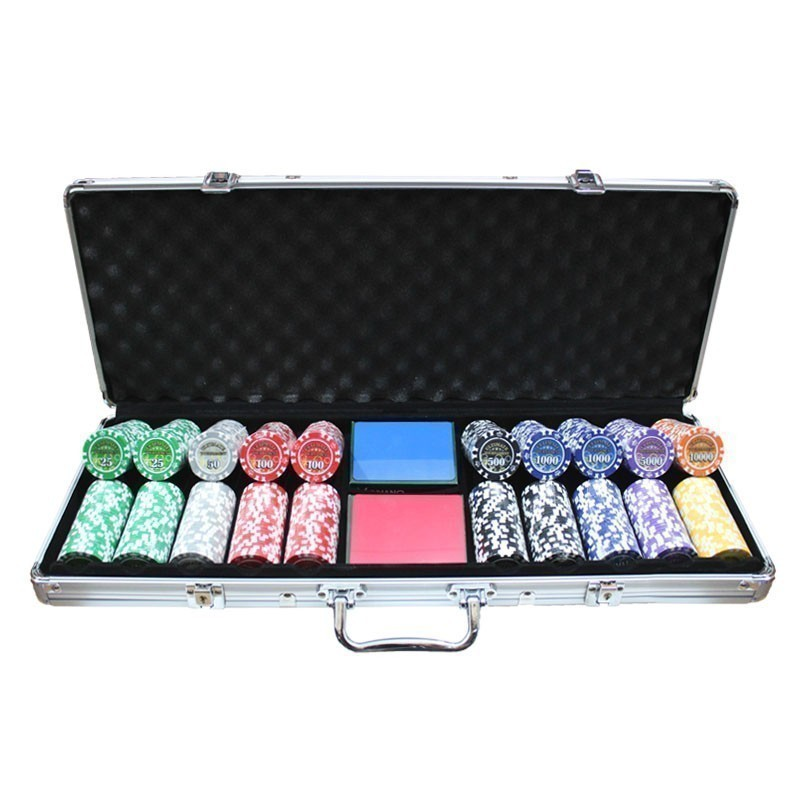 National Poker Set 500pcs 14gr Clay - Complete Game Set in Carry Case | Σετ Μάρκες Πόκερ National 500τεμ 14gr Σε Βαλίτσα