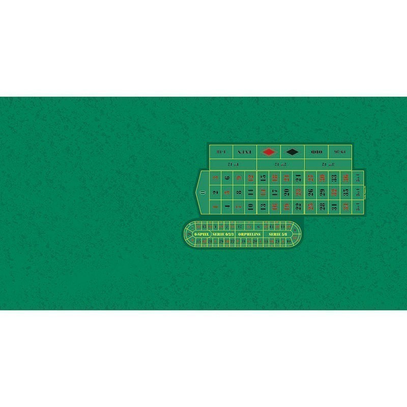 Roulette Table Cloth - Rez LH Green with Racetrack | Τσόχα Ρουλέτας Πράσινο Ρεζ